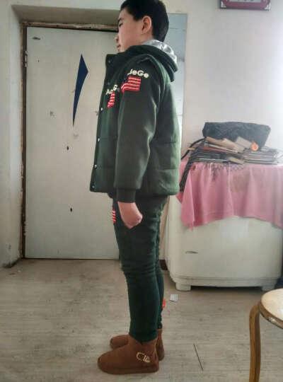 童装2018新款男童秋冬装套装儿童加厚加绒卫衣保暖三件套女孩衣服申请上架 酒红-加厚款 140码建议身高130cm 晒单图