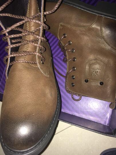 皓顿(HAUTTON)头层牛皮男靴子春季军靴时尚中帮马丁靴男 098黑色加绒 43 晒单图