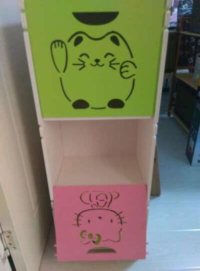 维克特 多层卡通玩具收纳柜储物柜化妆品整理柜儿童衣柜收纳箱 简易书架置物柜 1绿+2粉  三层 晒单图