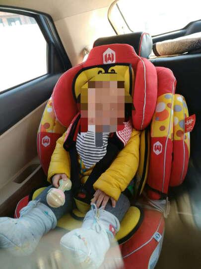 儿童汽车安全座椅 婴儿9个月-12岁 加强型侧翼防护 红色+isofix软连接带+防滑防磨垫 晒单图