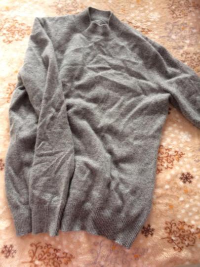 鳄鱼恤女士100%山羊绒针织半高领打底毛衣女基础款纯羊绒衫 中灰 160/84A(95cm) 晒单图