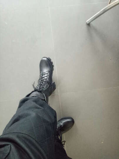 2018新款秋冬真皮女靴时尚粗跟厚底短靴侧拉链系带中筒靴马丁靴大码女靴子 黑色 37 晒单图