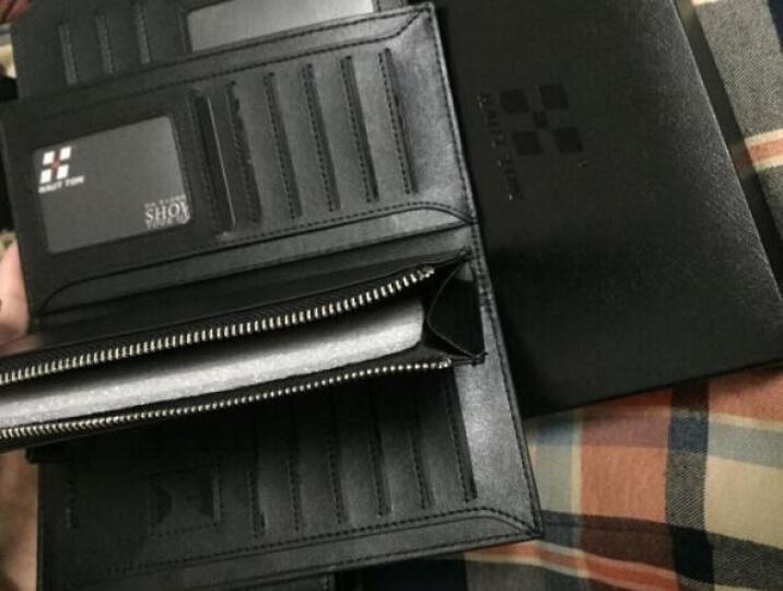 HAUTTON/皓顿 男士钱包男长款拉链男包卡包独立移动卡位休闲头层牛皮手包皮夹钱夹 黑色 安全按扣 晒单图