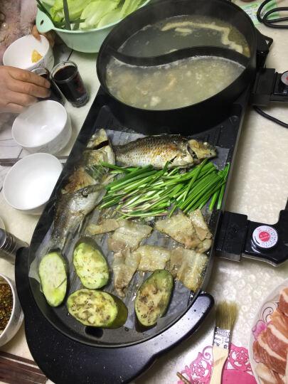 三美(SAN MEI) 韩式无烟电烤炉家用 多功能电热烧烤烤肉机 电烤盘烤涮一体锅 鸳鸯锅款 晒单图