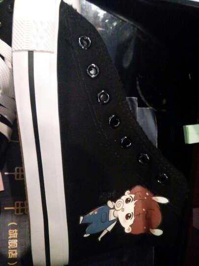 高帮帆布鞋少女球鞋手绘女生中学生单鞋女夜光荧光鞋女春夏秋季休闲板鞋子运动会 高帮黑蝴蝶结女孩 36 晒单图