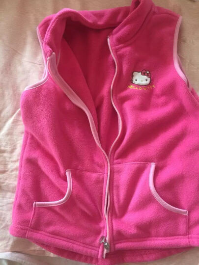 凯蒂猫Hellokitty女童马甲背心摇粒绒宝宝开衫拉链儿童坎肩马夹KT7004玫红色140cm 晒单图