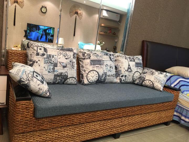 司库诺 藤沙发床 折叠 双人沙发床 客厅沙发床 藤草沙发床 藤木三人沙发床  晒单图