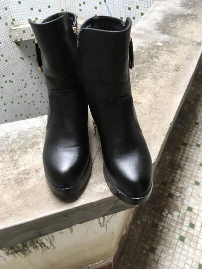莱卡金顿秋冬新款女靴粗跟短靴女马丁靴踝靴高跟女鞋欧美休闲百搭 LK6157黑色 38 晒单图