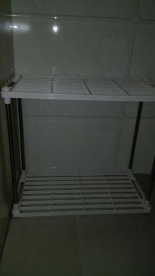 奥亿家 塑料不锈钢厨房置物架调料架卫生间浴室置物架脸盆架鞋架收纳架储物架 加固四层 一层加高 晒单图