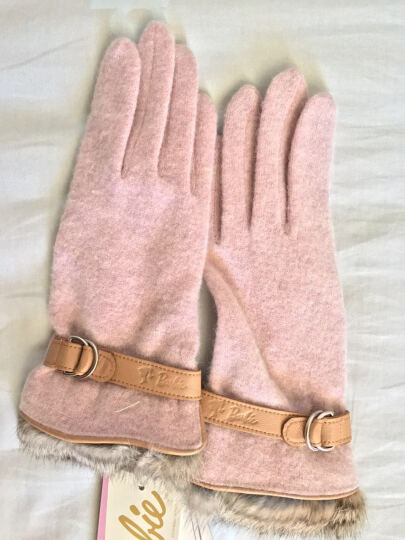 芭比(Barbie)女士佳绩手套 芭比时尚流行潮流女士手套冬季保暖女士针织手套 粉色 晒单图