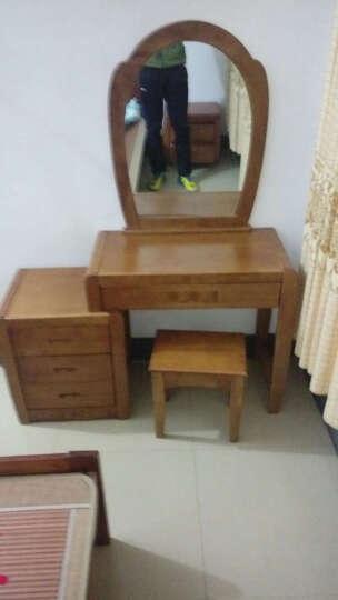 艾莉哲家具中式现代 实木梳妆台橡木梳妆台泰国进口橡胶木梳妆桌简约中式套房家具909 胡桃色 晒单图