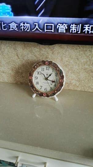 北极星(POLARIS)台钟欧式静音座钟客厅装饰挂钟田园实木摆钟创意卧室时钟挂表HD-6013白色 晒单图