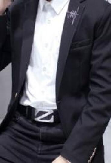 巴克龙春装新款英伦风小西装男韩版修身学生西服男(青年单西男英伦便西发型师潮装伴郎服中山装) 翻领款藏青色-X701 XL 晒单图