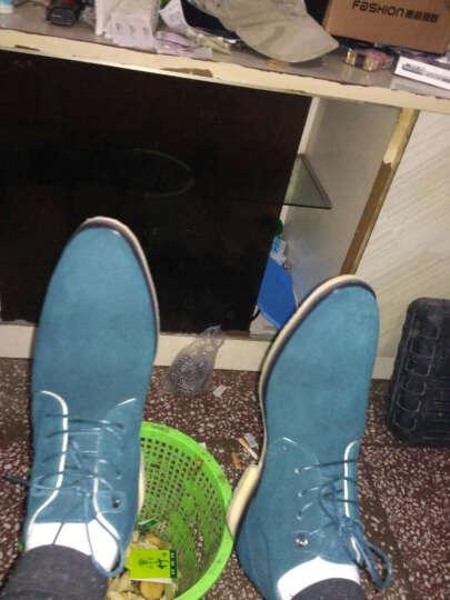 于心反绒皮磨砂中帮皮鞋真皮短男靴休闲男鞋秋男士英伦日常户外马丁靴高帮鞋YH-3867 灰色偏大一码 40 晒单图