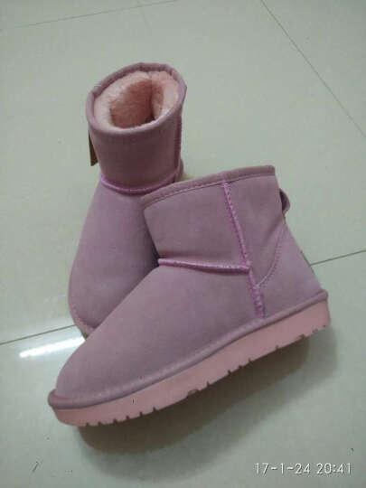 女士鞋 雪地靴女士 冬季多色真皮大码女士士短靴新款防滑保暖女士鞋 09酒红色 35 晒单图