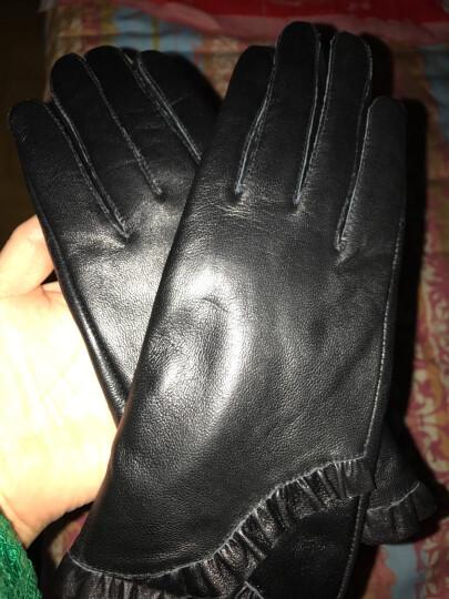 2019新款真皮手套女冬季抽褶花边绵羊皮手套 防风加绒加厚时尚保暖开车骑车真皮手套 黑色 晒单图