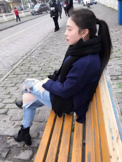 缤梦短靴牛皮马丁女靴系带圆头侧拉链粗跟加棉靴子加绒中跟低筒靴秋冬季新款女鞋 皇冠款单鞋 40 晒单图