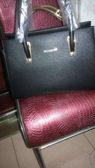 红客 新款女包手提包女子母包欧美时尚单肩包定型斜挎包三件套大包9226 黑色 晒单图