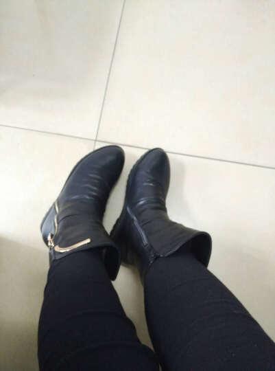 莱卡金顿冬天短靴冬季女鞋马丁靴裸靴韩版圆头女靴 冬季靴子女内增高加绒中筒靴长靴 棕色 37 晒单图