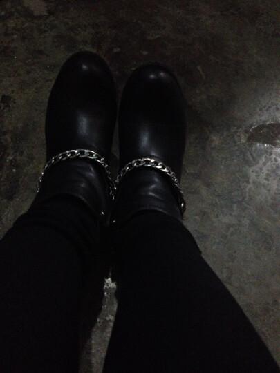【限时直降 专柜同款】Plover短靴 头层牛皮 厚底粗跟女靴 尖头马丁靴 黑色 37 晒单图