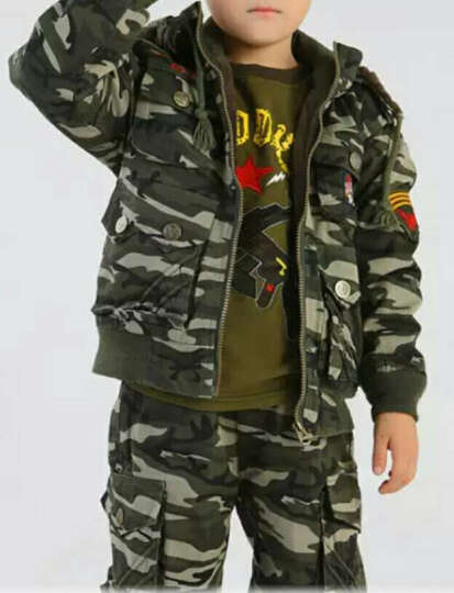 军童王子儿童套装童装冬季小孩迷彩服运动8528棉服裤加厚加绒两件套保暖男童中大童户外外套潮 荒漠 110码建议身高120cm 晒单图