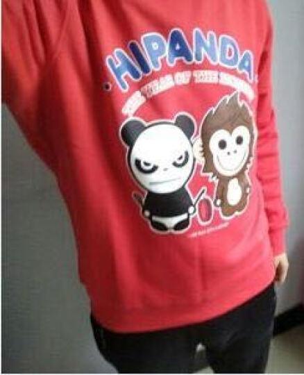 【旗舰店】HIPANDA 你好熊猫 男款 敲锣熊猫与猴子圆领卫衣 红色 175/L 晒单图