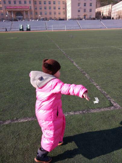 笛莎小童羽绒服儿童外套冬季新款童装女童中长款蝴蝶结连帽羽绒服外套624 玫红 130 晒单图