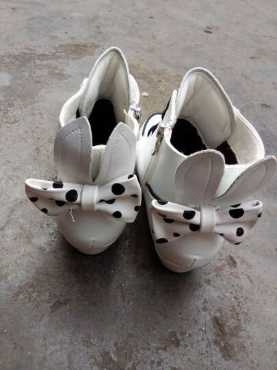 开辛 女童靴子儿童雪地靴新品公主马丁靴中大童高跟蝴蝶结加绒皮靴棉靴 白色 36码/鞋垫长22cm偏小一码 晒单图