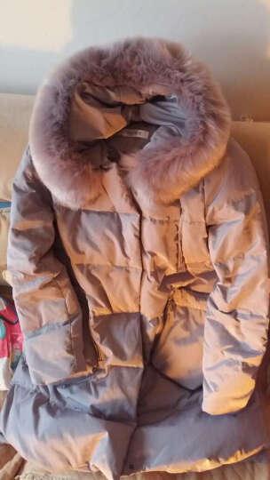 念露冬季新款女装韩版时尚A字修身休闲羽绒服女中长款连帽加厚外套9962 灰色仿毛领 XL适合140斤一下 晒单图