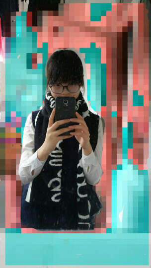 森马针织围巾冬季 女士休闲保暖字母提花针织围巾 黑白色调0191 M 晒单图