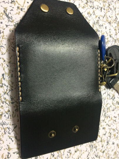 布朗克钥匙包锁匙收纳包银行卡包头层牛皮真皮纯牛皮男女挂腰 6把钥匙+3张卡 1112K 301黑 晒单图