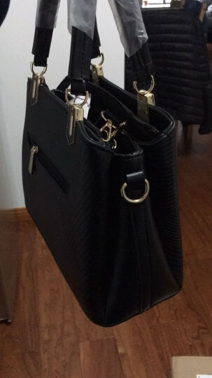 艾风尚女士包包2017新款中年女包休闲单肩包大容量手提包斜跨大包妈妈包 粉色 晒单图