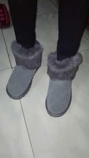 ZHR雪地靴女圆头套脚舒适加绒保暖女靴时尚透气防滑棉鞋2019新款 浅灰色 35码 晒单图
