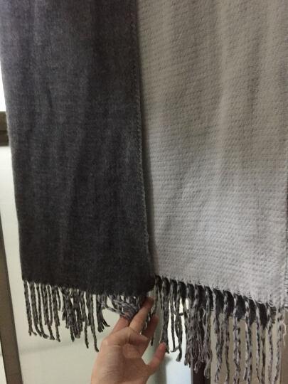 Vero Moda秋装针织双色流苏超大围巾女|316388512 105花岗石灰色加花色 均码 晒单图