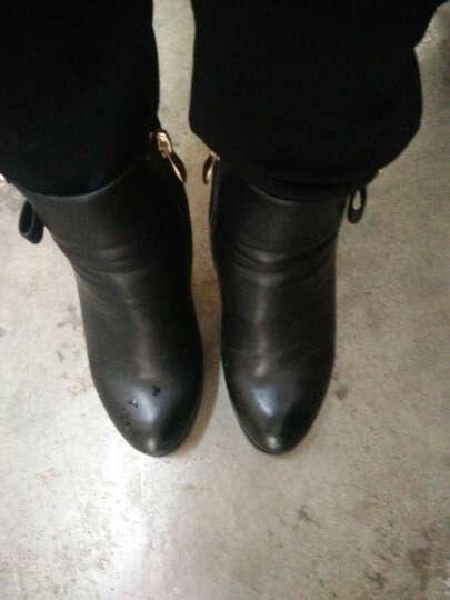 百灵天娇短靴女 2016秋冬新款高跟女靴时尚欧美粗跟单靴及踝靴婚鞋女及裸靴 黑色 35 晒单图