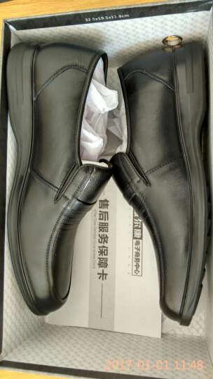 意尔康皮鞋日常休闲男鞋牛皮套脚舒适柔软单鞋6441AA97005W棕色40 晒单图