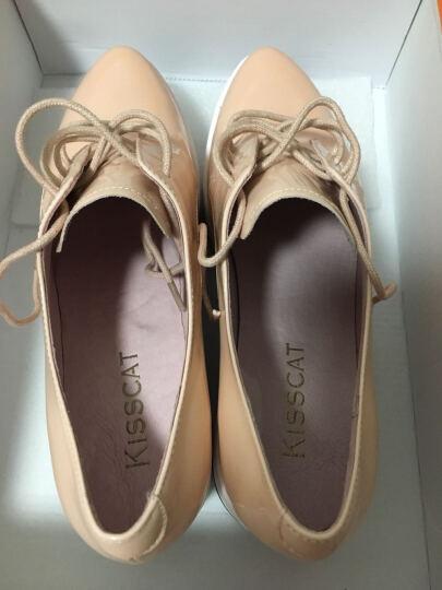 KISSCAT接吻猫女鞋单鞋女厚底小白鞋牛漆皮增高鞋休闲运动鞋松糕底DA76496-51 粉红色 36码 晒单图