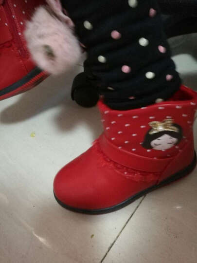 桐佳美 2018冬季新品 女童棉鞋可爱小女孩花边棉靴保暖棉鞋 红色 22 晒单图