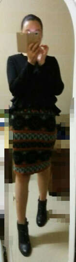 Five Plus新女秋装纯色棉质拼接荷叶边宽松圆领长袖T恤2HF4020890 黑色090 XS(155/80A) 晒单图