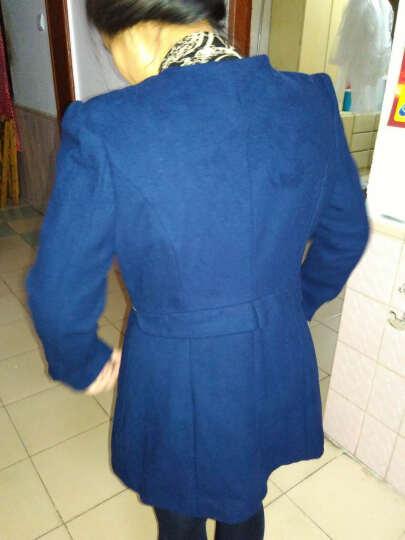 福寿瓜 2016秋冬季新款毛呢外套女装中长款西装领妮子修身羊毛呢子大衣潮 蓝色 L 晒单图