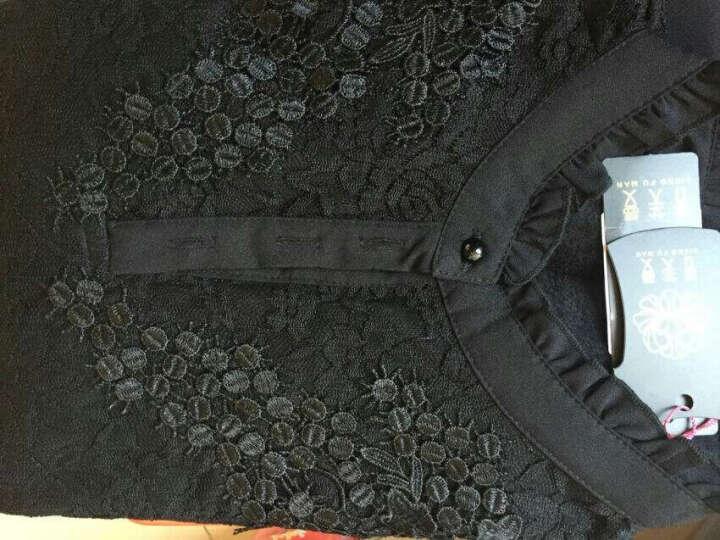 香芙曼加绒加厚长袖t恤2018秋冬新款女装花边高领蕾丝打底衫女50232 黑色加绒加厚 2XL 晒单图