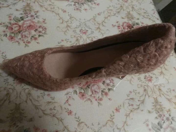 卡卡妮亚高跟鞋女士细跟2019年春季新款绒面单鞋 粉红色(细跟) 36 晒单图