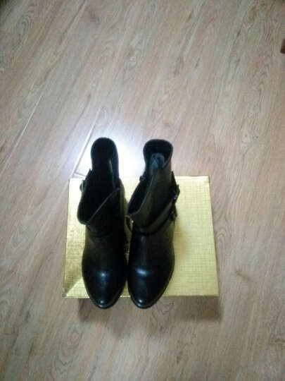 莱卡金顿秋冬新款短靴女粗跟女靴马丁靴踝靴高跟女鞋欧美百搭女单靴 LK1882黑色 39 晒单图
