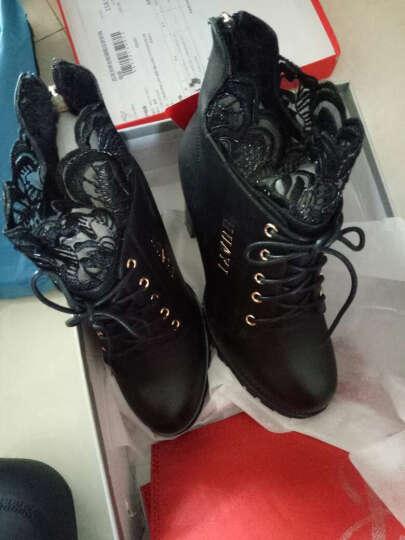 百灵天娇(BaiLingTianJiao) 短靴女秋冬新款蕾丝圆头粗跟高跟马丁侧拉链踝靴 黑色 37 晒单图