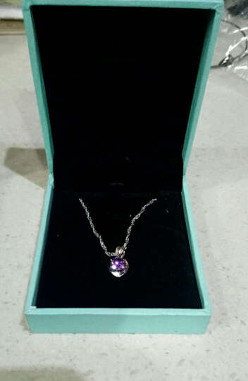 希缘 925银项链 女款紫色心形吊坠 时尚锁骨链银首饰品 情人节送女友送老婆生日礼物 紫色三件套 晒单图