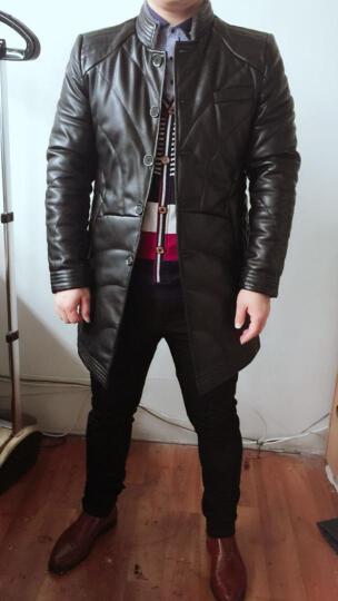 花花公子贵宾 真皮绵羊毛翻领羽绒服男士皮衣冬季保暖时尚帅气新款加厚修身青年中长款外套男装 1823深棕色 L 晒单图