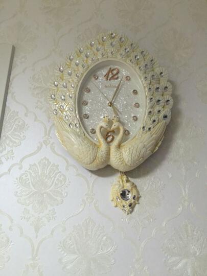 英伦欧堡 欧式挂钟 客厅创意摆钟韩式挂钟装饰钟表艺术挂钟客厅墙上挂件 孔雀开屏 晒单图