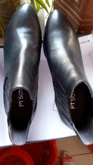 PTSON/百田森切尔西靴冬季新款尖头粗跟中跟短筒时尚牛皮短靴女 黑色 36 晒单图