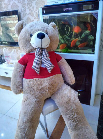 拉芙兔 毛绒玩具熊泰迪熊猫公仔 抱抱熊狗熊玩偶大熊布娃娃 女孩 爱心毛衣款 1米 晒单图