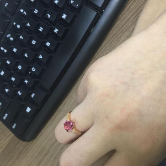 伊彩珠宝 碧玺戒指女18K金玫瑰金戒指红碧玺戒指女款 彩宝戒指 2.1克拉红碧玺 晒单图